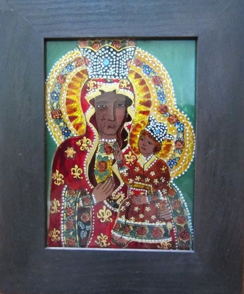 A contemporary rendition of Our Lady of Częstochowa by artist Janina Oleksy-Lew.